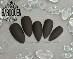 "Classic Matte Black Press On Nails ""Morticia"" Stiletto Nails Fake Coffin Nails Oval Nails, Matte Nails, Acrylic Nails, Black Stiletto Nails, Black Stilettos, Nails Short, Long Nails, Glue On Nails, My Nails"