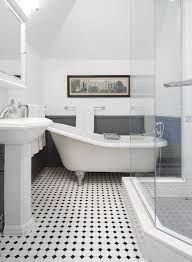 Interesting Edwardian Bathroom Design Ideas and Edwardian Bathroom Edwardian Bathroom White Tiles And Traditional Black White Bathrooms, White Bathroom Tiles, Bathroom Floor Tiles, Modern Bathroom, Black And White Bathroom Floor, Black Floor, Chic Bathrooms, Contemporary Bathrooms, Bead Board Bathroom