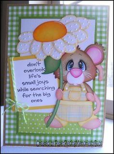 """Life's small joys"" Mouse Greeting card created by Paper Piecing Memories by Babs"
