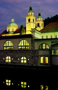 A night view at st. Nicholas church. Ljubljana, Slovenia