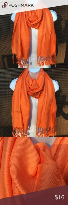 "🎁Judy Crowell bright salmon scarf wrap🏮EUC 🌅Approximately 26""x64"" wrap🍑. Beautiful color around your face🍊 Judy Crowell Accessories Scarves & Wraps"
