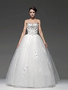 Strapless Tulle Ball Gown with Rhinestone Applique - USD $159.00