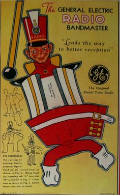 Carey Cloud - Toys - The General Electric Radio Bandmaster, The GE Radio Bandmaster Paper Doll Craft, Doll Crafts, Paper Toys, Paper Crafts, Card Crafts, Printable Crafts, Printable Paper, Printables, Doll Toys