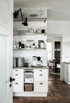 subway tile + open shelves