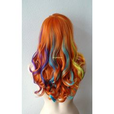 Rainbow Wig Bold Pastel Rainbow Color Wig Long Wavy Hairstyle Wig Heat... ($300) ❤ liked on Polyvore featuring beauty products, haircare, hair styling tools, hair, bath & beauty, brown, hair care and wigs