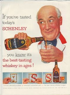 """Description: 1952 SCHENLEY WHISKEY vintage magazine advertisement """"If you've tasted"""" -- If you've tasted today's Schenley ... you know it's the best-tasting whiskey in ages!  -- Size: The dimensions of the full-page advertisement are approximately 10.5 inches x 14 inches (26.75 cm x 35.5 cm). Condition: This original vintage full-page advertisement is in Excellent Condition unless otherwise noted (inside back cover -- slight wear on edges)."""