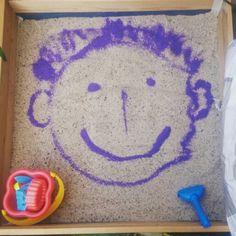 Sandkasten, bunter sand, basteln mit kleinkind