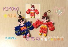 Kimono Girl☆ きもの を着た女の子のチャーム☆作り方(Rainbow Loom)