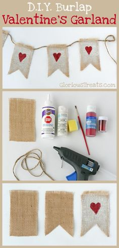 Burlap Valentine's Day Garland {How-to} - by Glorious Treats (adding pictures instead of hearts?)