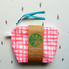 Hand painted cotton coin pouch