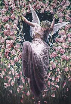 ≍ Nature's Fairy Nymphs ≍ magical elves, sprites, pixies and winged woodland faeries - Fairy swinging among the flowers