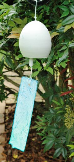 Handmade Unglazed White Japanese Fuurin Windchime with Hand Painted Paper Tanzaku