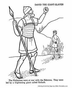 David And Goliath Coloring Pages Printables Sketch Page