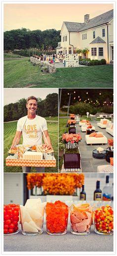orange and white party decor