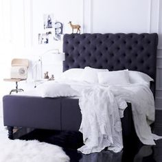 Put on 2 do list: MAKE THIS BED. Wood, covered in batting, upholster with thick fabric, paint decorative wood peices (prob can find for kitchens use & stairways) screw onto bottom for legs. And upholstry pins if you want the headboard tufted
