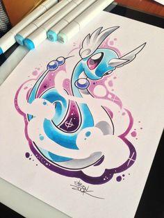 Dragonair by Simon Zook Cool Pokemon, Pokemon Fan, Manga Pokémon, Pokemon Painting, Dragonair, Pokemon Tattoo, Anime Tattoos, Creative Illustration, Geek Out