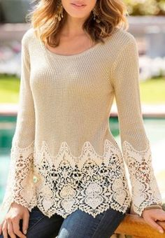 So Pretty! Love the Lace Details! Chic Solid Color Lace Splicing Long Sleeve Scoop Neck Pullover Sweater For Women #Lace #Sweater #Fashion
