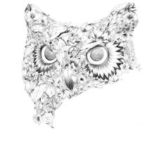 Love the duality of this sketch incorporating both the flowers and owl in a refreshing way. Tattooed styled illustration by Philippe Constantinesco