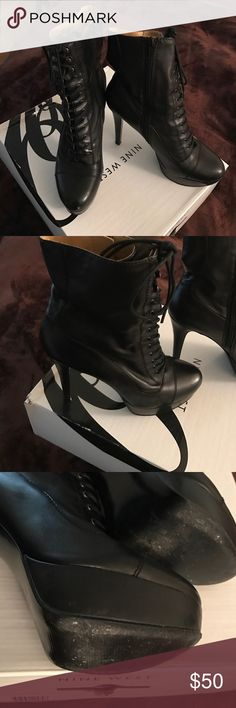 Nine West Black leather boots Gently worn and comfortable lace up the front Black Nine West Leather boots. Boots zipper on the side for easy on and off. Nine West Shoes Heeled Boots
