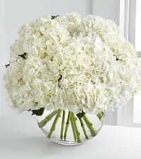 Centerpiece. Simple. Mix of pink, green and white hydrangeas with white carnations. Love