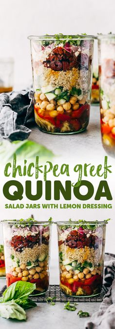 Greek Quinoa Salad Jars - these jars are prefect for meal prepping and popping them in the refrigerator for the week ahead. Swap the ingredients for ones you like, this is so customizable! Salad In A Jar, Soup And Salad, Healthy Meal Prep, Healthy Eating, Freezable Meal Prep, Healthy Fridge, Healthy Carbs, Healthy Foods, Clean Eating