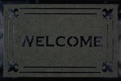 """Welcome Fleur Grey Carved Mat (1'8"""" x 2'8"""") from Michael Anthony Furniture - only $33 and free shipping! Indoor Rugs, Welcome, Carving, Free Shipping, Grey, Blue, Furniture, Products, Gray"""