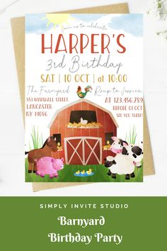 This Barnyard Birthday Invite is perfect for a birthday party. This easy to edit birthday party invitation will be a great addition to your little one's Barnyard Birthday Party Theme. Farm Animal Birthday, Dinosaur Birthday Party, Birthday Party Themes, Special Birthday, 3rd Birthday, Party Invitations Kids, Farm Yard, Animal Party, Invite
