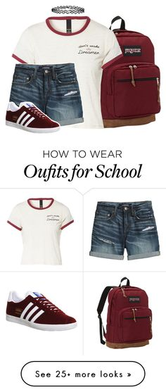 """summer/school"" by blazingburns on Polyvore featuring JanSport, Canvas by Lands' End, adidas and Accessorize"