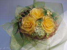 Sárga rózsacsokor , Dekoráció, Esküvő, Ünnepi dekoráció, Esküvői csokor, Meska