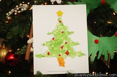 Tissue Paper Christmas Tree with Printable | LearnCreateLove.com