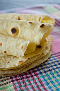 Basic homemade flour tortillas. These are healthy as they don't contain lard or shortening. Ready in 30 minutes! | giverecipe.com | #tortilla #bread