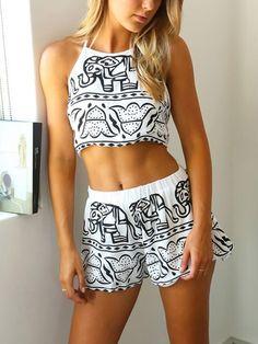 White Elephant Print Halter Crop Top With Elastic Waist Shorts