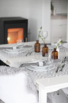 grey table setting