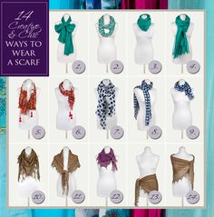 14 Ways to wear a scarf - Tips  Tricks from www.piarossini.com