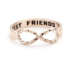 BEST FRIEND' Engraved on the inside of the band. This Infinity Ring is a dainty ring that shows your forever love and appreciation for a special someone whether it be a wife, girlfriend, daughter, sis