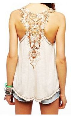Love Love LOVE this Top! So Gorgeous! Sweet Scoop Neck Sleeveless Back Openwork Lace Backless Summer Tank Top #Gorgeous #Lace #Summer #Tank #Top #Bohemian #Style #Fashion