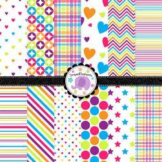 Arco iris Digital paquete de papel papel por StripedElephants