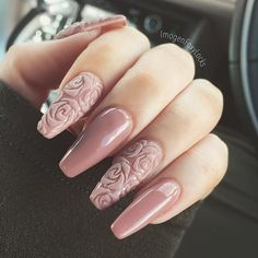 Fresh nails  Acrylics by April using #TruGel in 'Love My Latte'  How gorgeous are the Rose details  #notd