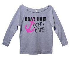 Boat Hair Don't Care Womens 3/4 Long Sleeve Vintage Raw Edge Shirt