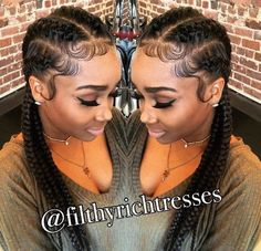 Pretty feed in braids