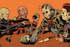 Pinhead, Michael Myers, Jason Voorhees and Freddy Krueger playing poker by Ray Frenden Slasher Movies, Horror Movie Characters, Horror Villains, Horror Icons, Horror Films, Arte Horror, Horror Art, Dogs Playing Poker, Happy Friday The 13th