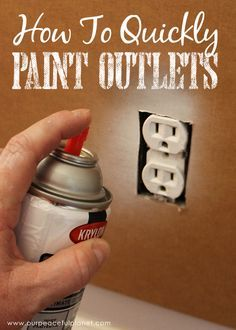 Home Remodeling Hacks Save time and money by painting outlets rather than replacing them. If you've got wall outlets that don't match you'll love this quick and inexpensive fix! Home Renovation, Home Remodeling, Basement Renovations, Kitchen Remodeling, Painting Tips, House Painting, Spray Painting, Painting Ceilings Tips, Painting Techniques