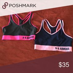 Set of Two Under Armour Mid Sports Bras Size Small Set of Two Under Armour Mid Printed sports bras size small. Only worn, washed, and hung dry a couple times. In great condition! Tags no longer attached. Left: charcoal/black/hot pink. Right: navy/pink. Under Armour Intimates & Sleepwear Bras
