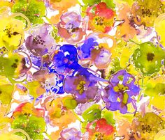 watercolor floral large purple yellow fabric by katarina on Spoonflower - custom fabric
