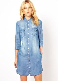 2013 New knee-length dress Casual cardigan jeans dress Half Roll Sleeve  Long Denim Dresses 049d9dff8549