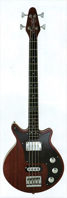 Brian May Bass ~ Unlike the obvious Strat/Precision or SG/EB-3 pairing the Brian May Bass seems a somewhat curious design choice. A short (31.5) scale length means is it visually well proportioned, with a Set Neck Construction, Cherry Red fully bound mahogany body, mahogany neck and ebony fingerboard. It has 20 Frets, Hipshot Tuners and the bridge is a high-mass raised-tail design.