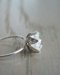 Herkimer brut bague, bijoux pierres naturelles bio, brut cristal bague en diamant pour elle, bague de fiançailles, anniversaire femme, cadeau petite amie