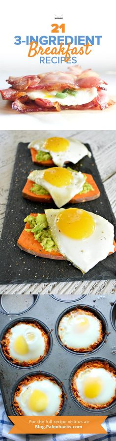 Looking for a quick and tasty breakfast recipe you can whip up in no time? We're talking meals that require a maximum of three healthy ingredients, so you can get out the door and kick start your day. Get the recipes here: http://paleo.co/3ingrbrekky