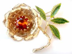 SARAH COVENTRY Ember Flower Brooch Topaz Amber Rhinestone Vintage Collectable Jewelry by JewelryQuestDesign, $21.99