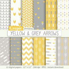Papel digital de flechas: amarillo y gris flechas fondos por Grepic